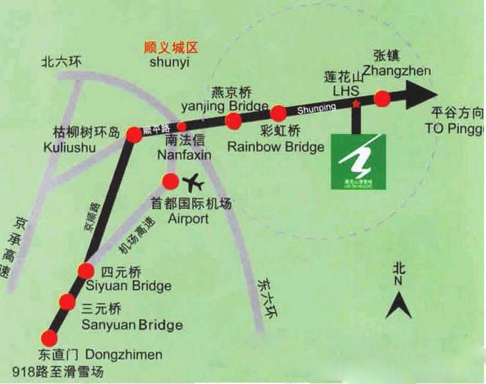 莲花山滑雪场行车线路图